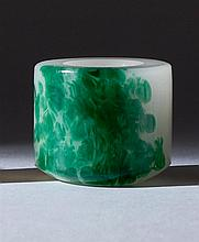 GREEN AND WHITE GLASS SNUFF BOTTLE Simulating jadeite. From the Collection of Sid Shaw.