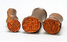 THREE BAMBOO SEALS In natural form. Heights from 1.25