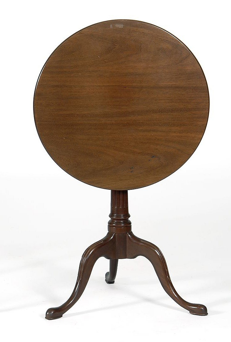 Kittinger queen anne style tilt top table in mahogany label for Fluted pedestal base