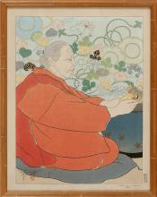 PAUL JACOULET (#74) Souvenirs d'Autrefois, Japon (Souvenirs of the Past, Japan). Framed.