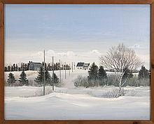 VICKI MACLEAN, Canadian, Contemporary, Farm in winter., Oil on masonite, 24