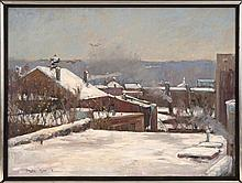 DOUGLAS TAYLOR, Maine, Contemporary, Snow-filled town landscape., Oil on canvas, 18