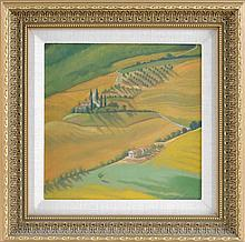 SHARON BOWAR, Pennsylvania, Contemporary, Rolling hills., Oil on masonite, 11