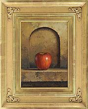 LORAN SPECK, American, 1943-2011, Still life with apple., Oil on masonite, 12