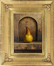 LORAN SPECK, American, 1943-2011, Still life with pear., Oil on masonite, 12