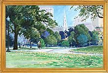 JON SMITH, American, Contemporary, Boston Common looking toward Park Street Church., Oil on canvas, 24