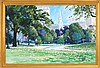 JON SMITH, American, Contemporary, Boston Common looking toward Park Street Church., Oil on canvas, 24