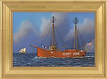 JEROME HOWES, American, Contemporary, Lightship Sandy Hook., Oil on masonite, 12
