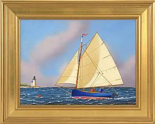 JEROME HOWES, American, Contemporary, Catboat headed toward Brant Point., Oil on masonite, 12