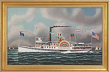 JEROME HOWES, American, Contemporary, The sidewheeler Nantucket., Oil on masonite, 24