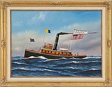 JEROME HOWES, American, Contemporary, The tugboat Molly., Oil on masonite, 18