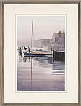 KAROL B. WYCKOFF, Cape Cod, Contemporary, Sailboat at dock, likely Nantucket., Watercolor on paper, 21