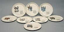 EIGHT PORCELAIN PLATES OF MILITARY INTEREST