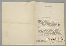 UNFRAMED CLAUDETTE COLBERT AUTOGRAPHED THANK YOU LETTER Dated October 3, 1938.