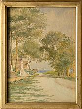 WILLIAM D. PARRISH, American, 1862 - 1949, A tree-lined road leading to the beach, possibly Chatham., Watercolor on paper, 14