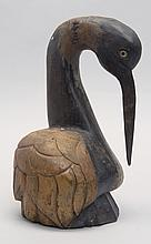 FOLK ART WOOD CARVING OF A STYLIZED HERON Height 11