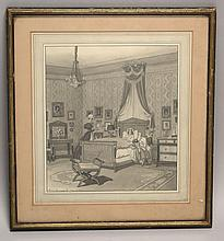 FRAMED ILLUSTRATION: PIERRE BRISSAUD (American, 1885-1964). Depicts a lady in bed attended by her servant and children. Signed lower...