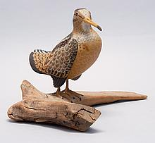 LIFE-SIZE WOODCOCK By Harry Ross of Maine. In standing form. Glass eyes. Signed on underside of driftwood base