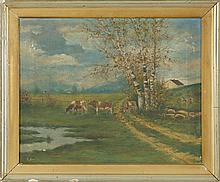 FRAMED PAINTING Three cows by a country road. Signed lower left