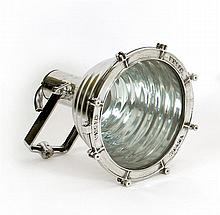 POLISHED ALUMINUM SHIP'S CARGO LIGHT BY WISKA With hinged yoke and rippled cowl. Marked