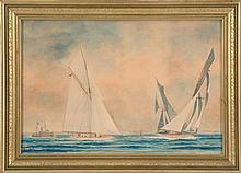 FRAMED WATERCOLOR OF A YACHT RACE Three yachts approaching a windward mark. Spectator steam-yacht at left. Untraced monogram signatu...