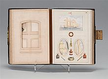 NAUTICAL PHOTO ALBUM Sans photos. Interior pages with chromolithograph images of the Royal Fleet and other vessels, as well as flags...
