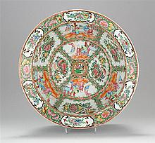 CHINESE EXPORT ROSE MEDALLION PORCELAIN WASHBOWL Interior with alternating figural and floral cartouches. Exterior with three rose s...