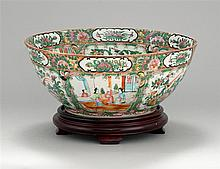 CHINESE EXPORT ROSE MEDALLION PORCELAIN PUNCHBOWL With figural and bird and floral paneled decoration. Height 6