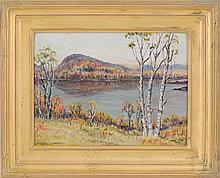 PARKER GAMAGE, Maine, 1882-1960, A mountain lake., Oil on board, 12