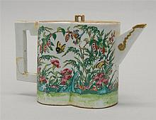 CHINESE EXPORT ROSE MANDARIN PORCELAIN TEAPOT In figure-eight form with gilt handles and spout. Height 5