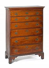 ANTIQUE AMERICAN CHIPPENDALE TALL CHEST In cherry with wavy cherry drawer fronts. Six graduated molded drawers with original hardwar...