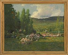 WILLIAM LAVALLEY, Vermont, 1862-1943, Apple blossoms in a landscape with distant town., Oil on canvas, 16