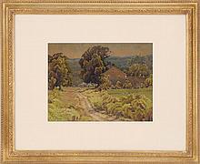 HEZEKIAH ANTHONY DYER, Rhode Island, 1872-1943, House in a landscape., Watercolor on paper, 9