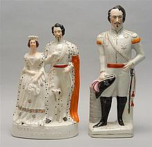 LARGE STAFFORDSHIRE FIGURAL GROUP In the form of the King and Queen of Sardinia, height 14