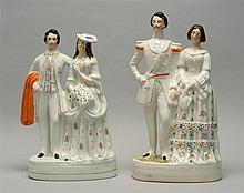 TWO STAFFORDSHIRE FIGURAL GROUPS One in the form of the Princess Royal and the Prince of Prussia, height 15.5