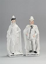 TWO LARGE STAFFORDSHIRE FIGURES In the forms of King Edward VII and Queen Alexandra. Heights 14