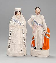 TWO LARGE STAFFORDSHIRE FIGURES In the forms of Queen Victoria and the Prince of Wales. Heights 16.5