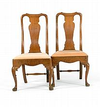 PAIR OF ANTIQUE QUEEN ANNE SIDE CHAIRS Country of origin is unconfirmed; possibly American Mid-Atlantic region. In walnut. Yolk cres...