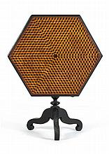 HEXAGONAL INLAID TILT-TOP STAND In walnut painted black. Top with intricate satinwood Louis Cube inlaid parquetry design around a ce...