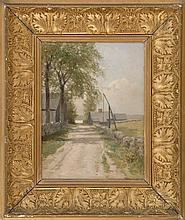 CHARLES DREW CAHOON, American, 1861-1951, A country road., Oil on artist board, 12