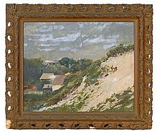 PROVINCETOWN SCHOOL, 20th Century, Outer Cape coastal landscape with houses., Oil on canvas laid down on board, 18
