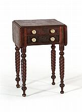 ANTIQUE AMERICAN SHERATON DROP-LEAF STAND In mahogany under what appears to be its original finish. Two drawers, the upper with fitt...