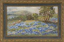 E.P. MCGILL, Texas, 1868-1939, Field of bluebonnets., Oil on artist board, 7.75