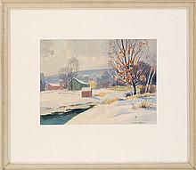 CHARLES GORDON HARRIS, Rhode Island, 1891-1963, Winter landscape with snowy river and town., Watercolor on paper, 10.5