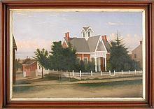 ATTRIBUTED TO PERCY SANBORN, Maine, 1849-1929, Red and white Victorian gingerbread cottage, Oil on canvas, 24