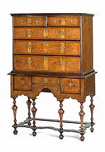 RARE ANTIQUE AMERICAN WILLIAM & MARY HIGHBOY In maple with exceptional burled ash veneer facings to all front areas of case. Upper c...