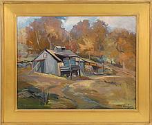 ALICE ESTELLE JAMES, Massachusetts, 1889-1970, Fall landscape with sugar shack., Oil on canvas, 24