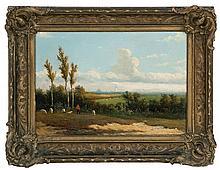 JOHANNES JACOBUS HEPPENER, American, 1826-1898, A shepherd gazes over a landscape., Oil on panel, 8.5