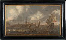 DUTCH SCHOOL, 17th Century, Warships anchored off the Dutch coast., Oil on cradled board, 19
