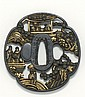 SUKASHI IRON TSUBA In mokko form with figural landscape design. Inscribed